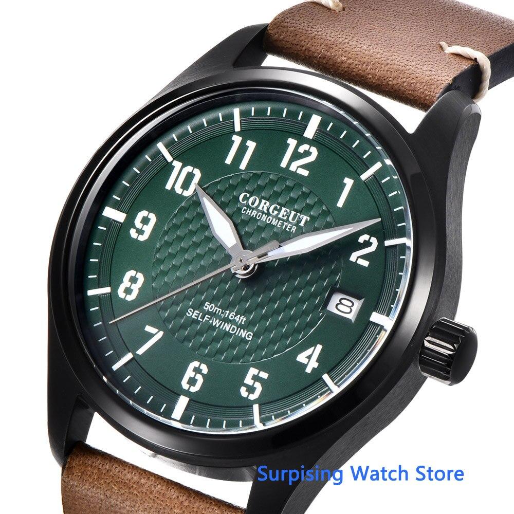Corgeut 40mm mostrador verde relógio masculino nh35 movimento automático 316l ss polido piloto luminoso à prova dwaterproof água relógio mecânico