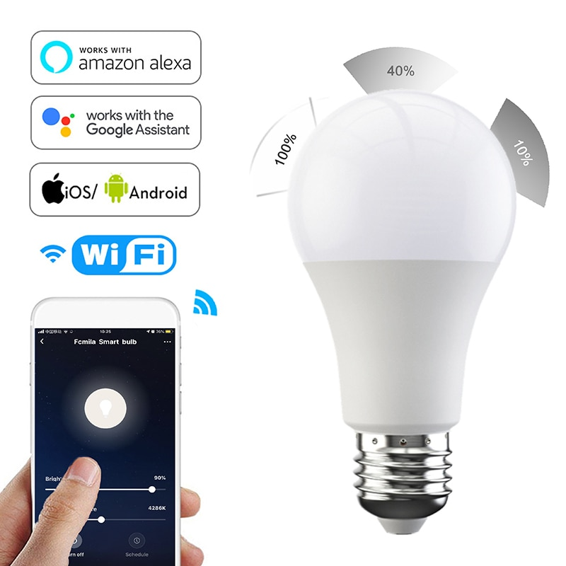 Bombilla de intensidad regulable Fcmila Wifi inteligente E27 B22 15W Smarthome bombilla de luz fría y cálida Control de voz funciona con Alexa Google Home