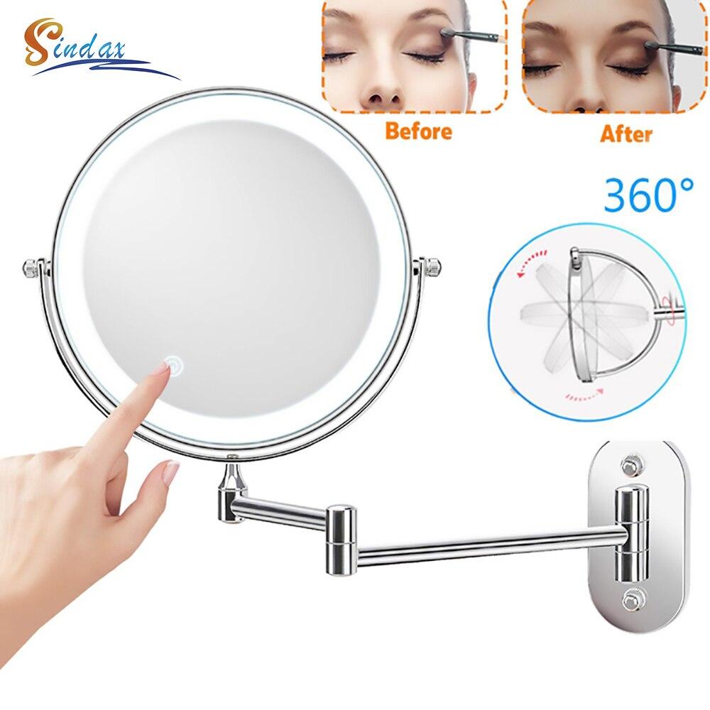 مرآة حائط Led للحمام ، تكبير 10X ، قابلة للتعديل ، على الوجهين ، تعتيم باللمس