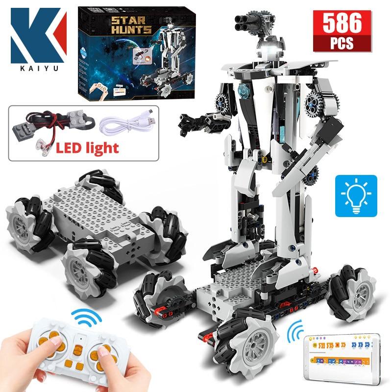 KAIYU 586 قطعة 4WD ستار التقنية المستقبل روبوت APP التحكم عن بعد لتقوم بها بنفسك سباق السيارات اللبنات مدينة LED RC سيارة الطوب اللعب