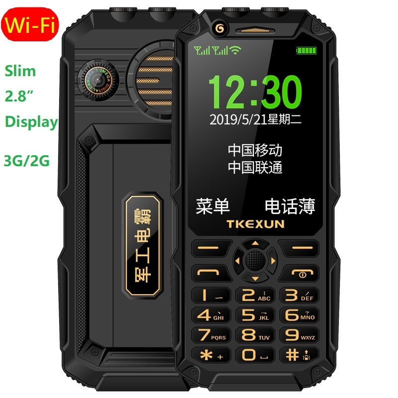 Tekxun 3G WCDMA Delgado teclado resistente teléfono móvil Wifi Internet Dial de velocidad llamada de emergencia doble linterna Powerbank altavoz grande