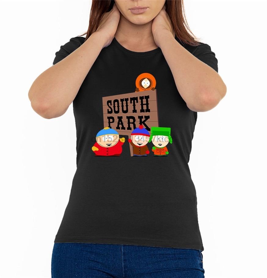Logotipo do sinal cartman stan kyle mulheres t camisa preta (tamanhos S-2Xl) 634547703515 retro o pescoço camiseta