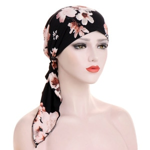 Floral Turban Hat Hijab Muslim Chemo Cap Women Wrap Hair Loss Head Scarf Stretch