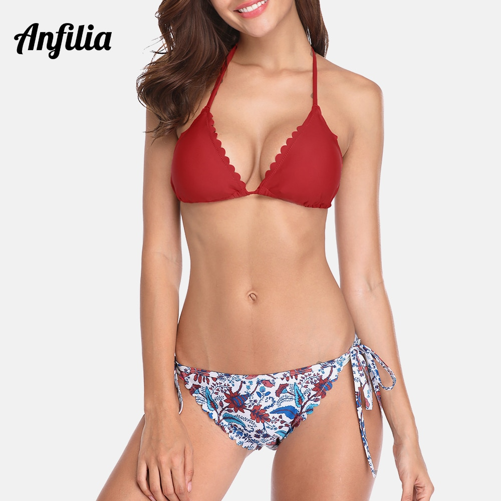 Anfilia Women Bikini Set Floral Print Swimwear Halter Top Bandage Sexy Swimsuit Beachwear Halter-neck Bikini Bathing Suit halter skimpy bikini with ruffles