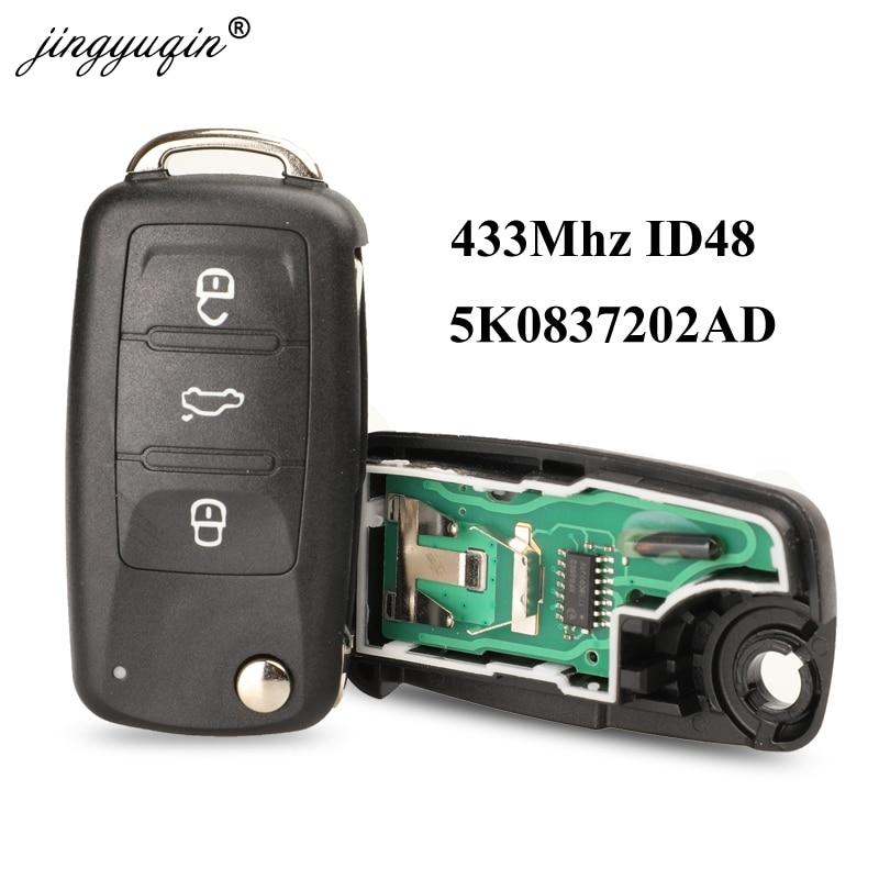Jingyuqin 3BTN Flip remoto 434MHz ID48 Chip para VW PASSAT Volkswagen GOLF Tiguan Polo Jetta escarabajo sin llave de coche 5K0837202AD