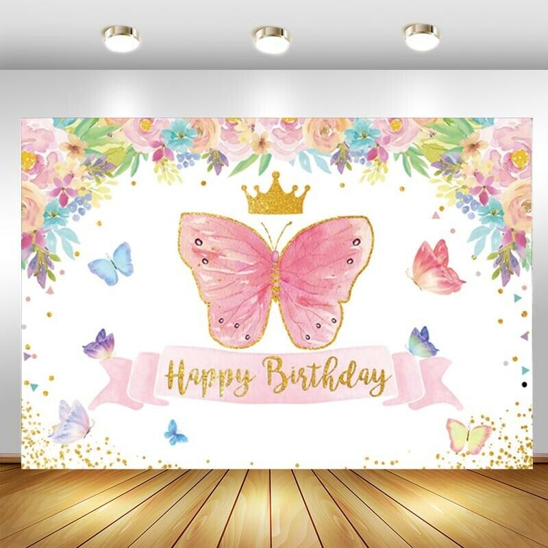 photography background soul train photo booth props party decorations disco birthday banner photo background tv dance background Pink Butterfly Photo Backdrop Crown Princess Girls Birthday Party Photography Background Booth Prop Decor Banner