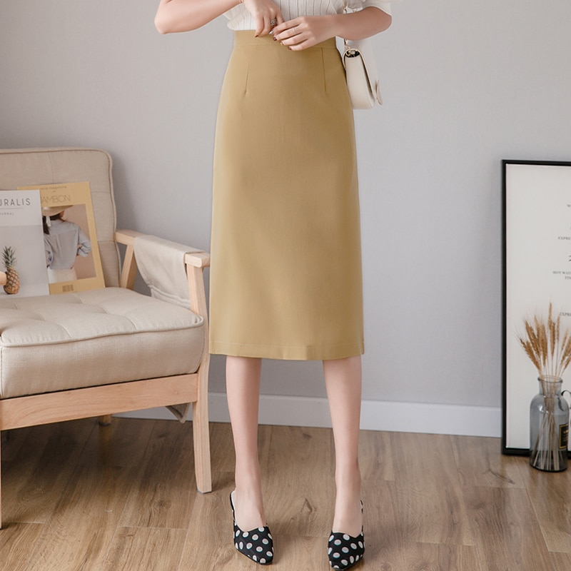 New Spring Women Fashion Temperament Solid Color Professional Bag Hip Skirt 2021A-line skirt