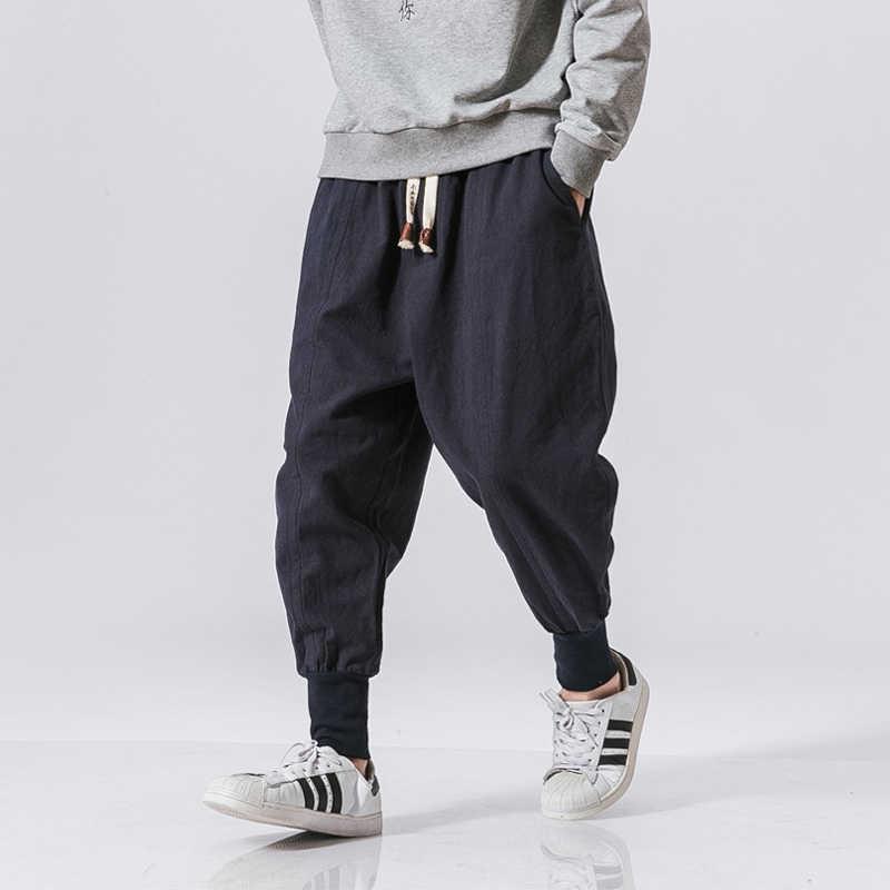 Шаровары мужские хлопковые с эластичным поясом, уличная одежда, джоггеры, мешковатые брюки с заниженной мотней, повседневные штаны, Прямая ...