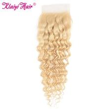 KLAIYI Hair Closure Brazilian Deep Wave Lace Closure Free Part Remy Human Hair 4x4 inch Swiss Lace 613 Top Closure