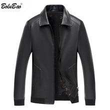 BOLUBAO Brand Men's Motorcycle Leather Jacket Fashion Winter Fleece Leather Jackets Slim Fit Male Warm PU Leather Jackets