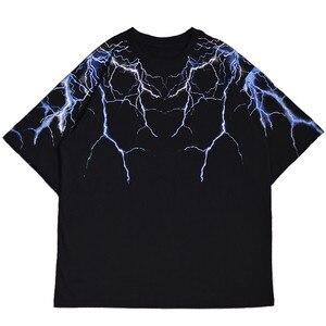 2021 Streetwear Dark Lightning T Shirt Hip Hop Men Harajuku Tshirt Short Sleeve Cotton T-Shirt Fashion Black Tops Tees HipHop