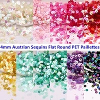 4mm austrian sequins environmental flat round pet loose sequin paillettes sewing wedding craft diy french embroidery accessories