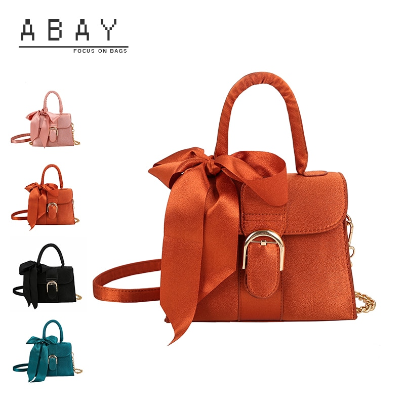 2020 Autumn Winter Women Velour Small Square Bag Ladies Bow Silk Scarf Versatile Fashion Handbag Female Casual Shoulder