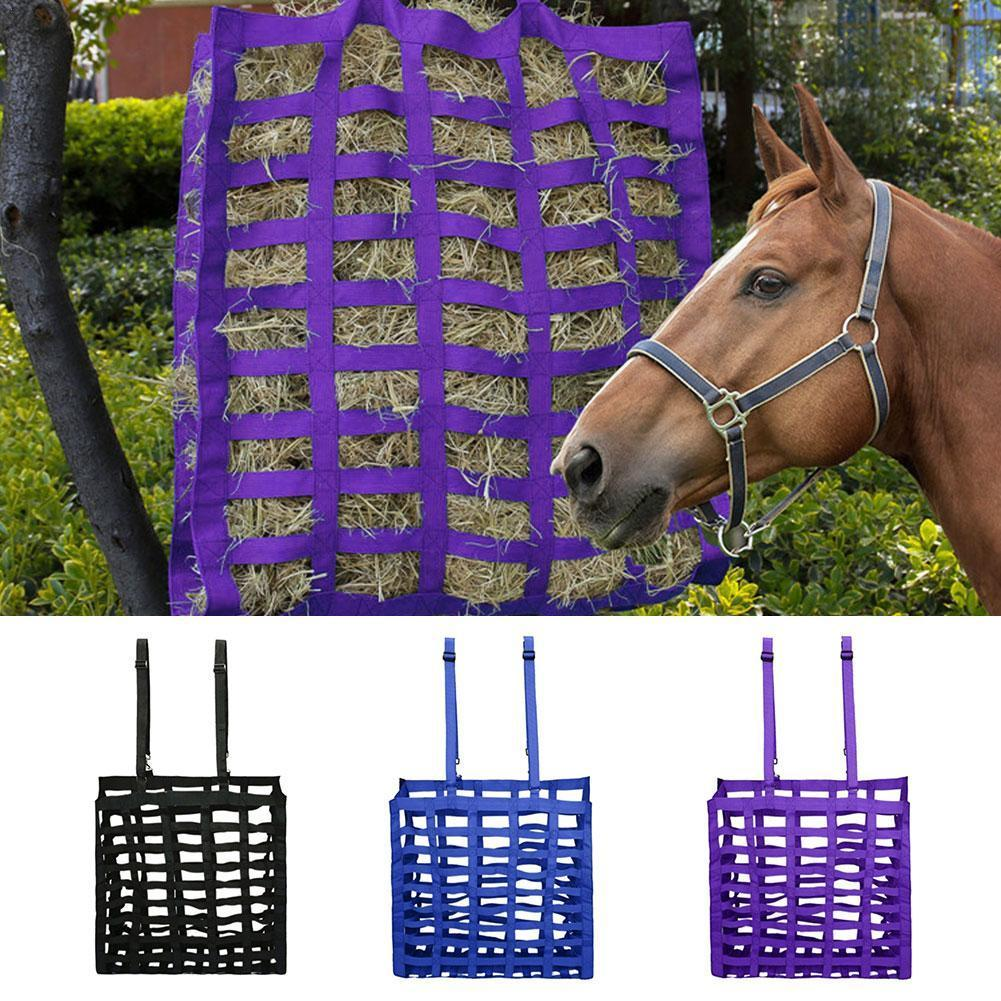 Horse Hay Bag Four-sided Multi-lattice Farm Animal Hay Bale Storage Bag Convenient Feeding Carry Bag
