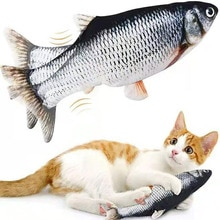 Pet Soft Cat Toy Electronic Fish Shape Electric USB Charging Simulation Fish Toys Funny Cat Chewing