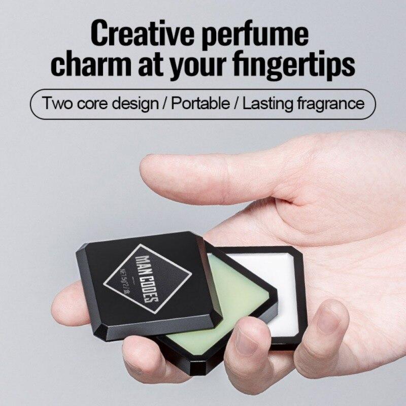 Perfume sólido para homens, 2 tipos de álcool livre, bálsamo mágico, caixa de ferro, fácil de transportar, fragrância corporal, menino perfumes em forma de