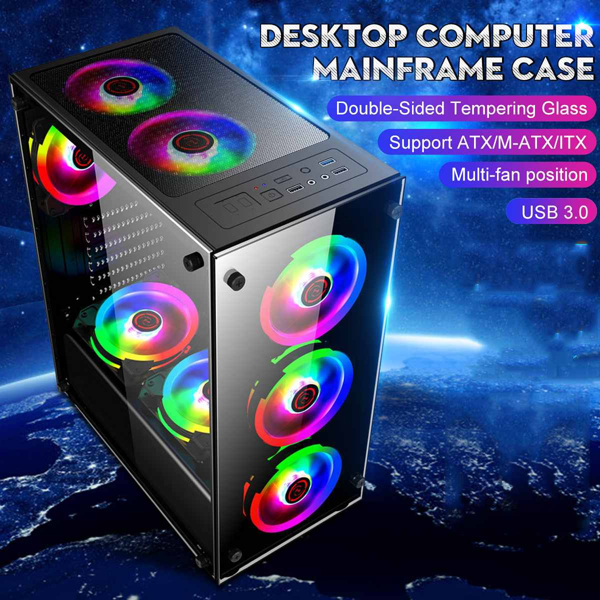 350x290x410mm Desktop Transparent Glass Gaming Computer PC Case Gamer Cooling For ATX/ m-atx/mini-itx Motherboard Support 8 Fans
