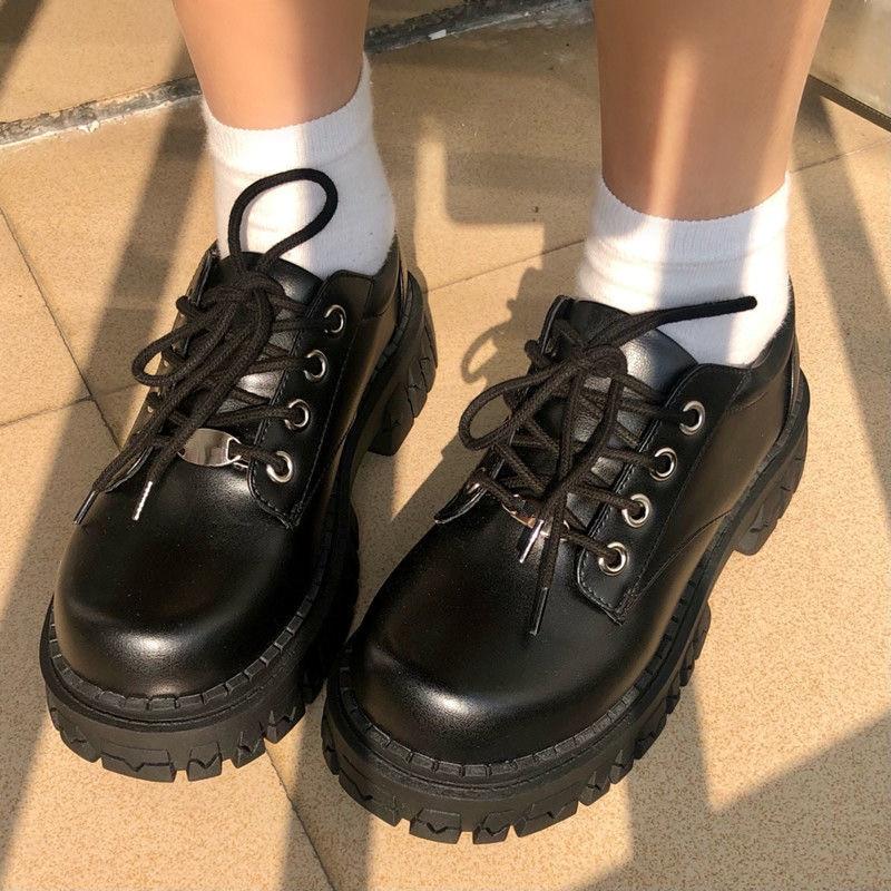British Platform Lolita Shoes Women Fashion Lace Up 2021 Women Casual Mary Jane Shoes Ladies Leather
