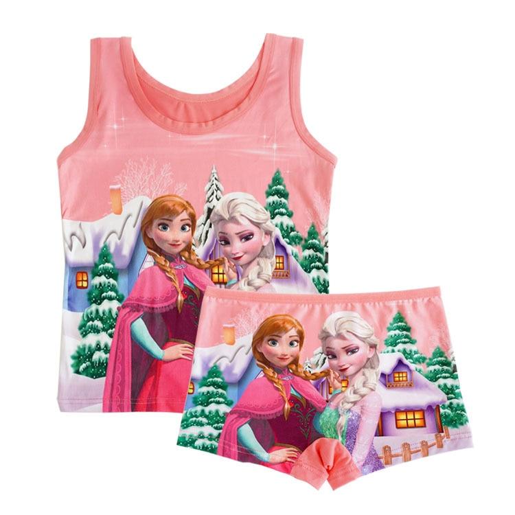 Disney princesa Elsa congelado de dibujos animados de pijamas de bebé niños chaleco camiseta pantalones cortos Sin mangas Niña pijamas niños ropa de dormir