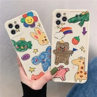 cute bear cartoon rabbit animal phone case for iphone 12 pro max 12 mini 11 pro xr xs max x 7 8 plus soft tpu lovely back cover