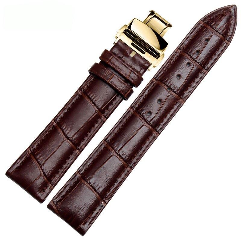 Correas de reloj de cuero genuino, correa de hebilla de acero para reloj, pulsera de cinturón de muñeca de alta calidad + herramienta 12/14/16/18/19/20/22/24mm