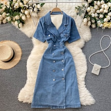 Yitimoky Vintage High Waist Denim Dresses Women Hollow Out Backless Double Breasted Puff Leeve Notch