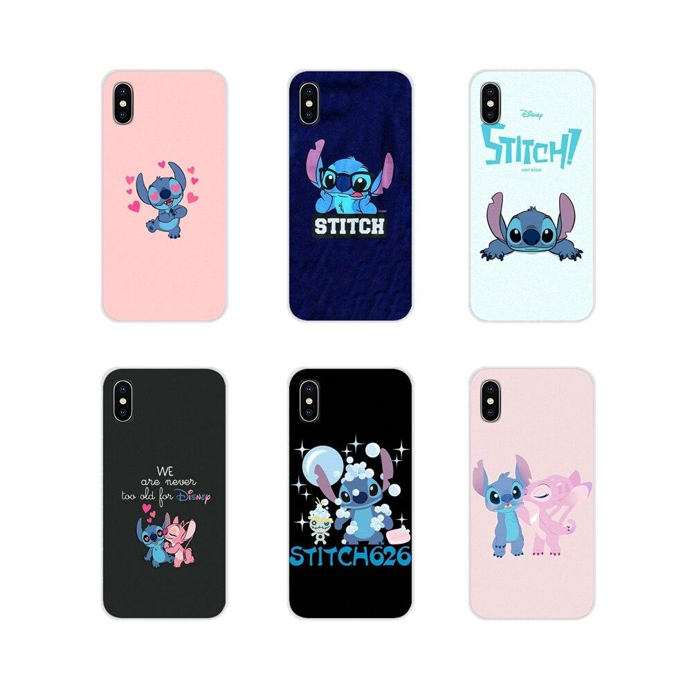 Lilo & Stitch lindo dibujos animados transparente TPU bolsa funda para Samsung Galaxy S3 S4 S5 Mini S7 S6 Edge S8 s9 S10 Lite Plus Nota 4 5 8 9