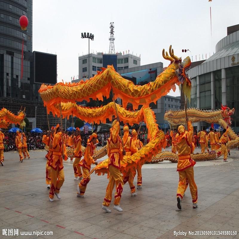 10m Golden Length Dragon Dance Costume  8 Players Children Student School  Art Halloween Party Performance Parade Folk Stage