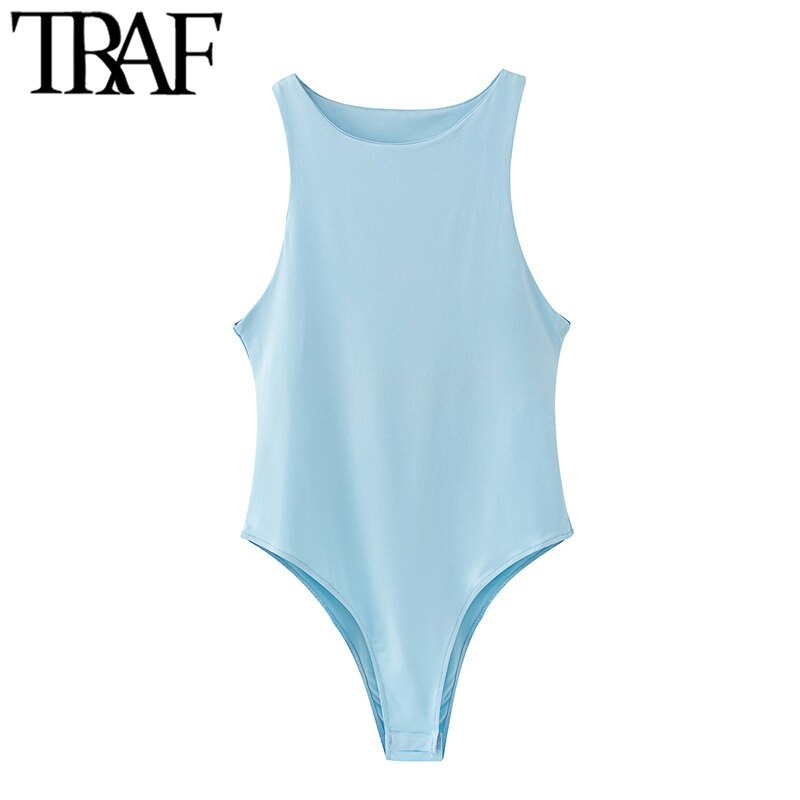 TRAF Women Sexy Fashion Stretchy Slim Solid Bodysuits Vintage O Neck Sleeveless Female Playsuits Chic Tops