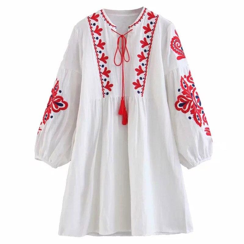 MUMUZI Fashion Casual Womens Ladies Dresses Summer white retro Boho Dress Casual Floral Beach Long Sundress beach wear