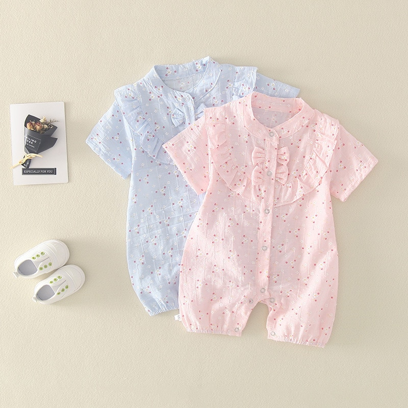 2021 New Baby Girl Summer Clothes Princess Western Thin Piece One-piece Romper Outfit