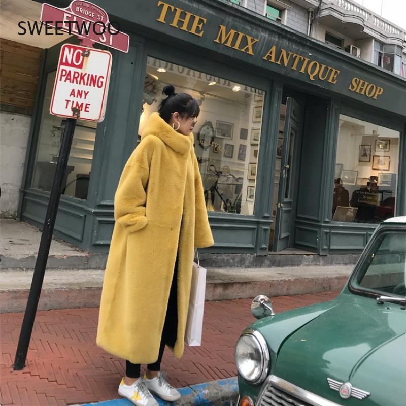 Новинка 2021, Роскошные пальто из искусственного меха норки и бархата, парки, женская зимняя Толстая свободная теплая верхняя одежда, Женская ...