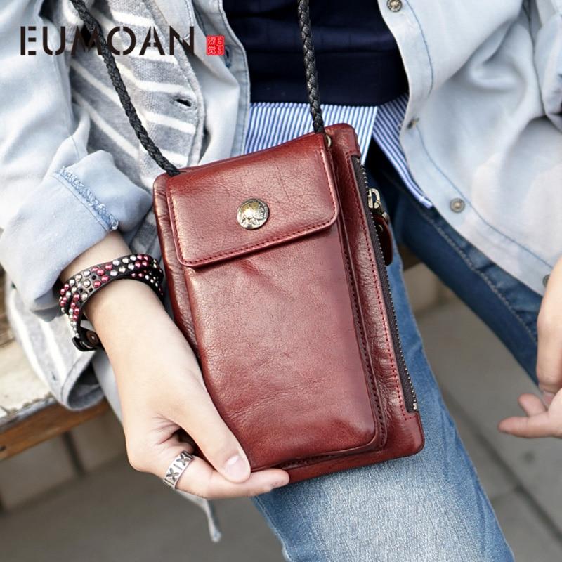 EUMOAN Handmade cowhide leather casual purse shoulder bag diagonal package mobile phone bag female models