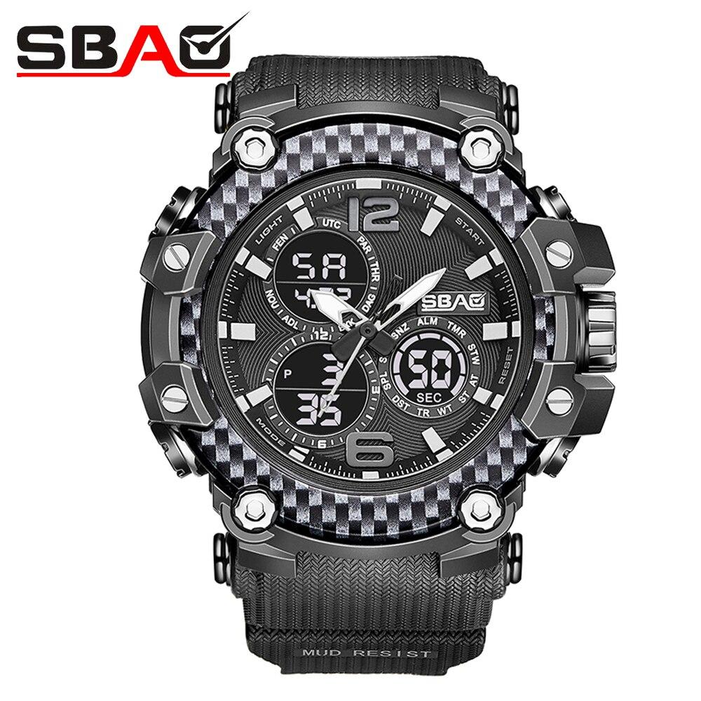 Часы SBAO мужские спортивные с двойным дисплеем, аналоговые цифровые светодиодные электронные кварцевые наручные, водонепроницаемые, в стил...