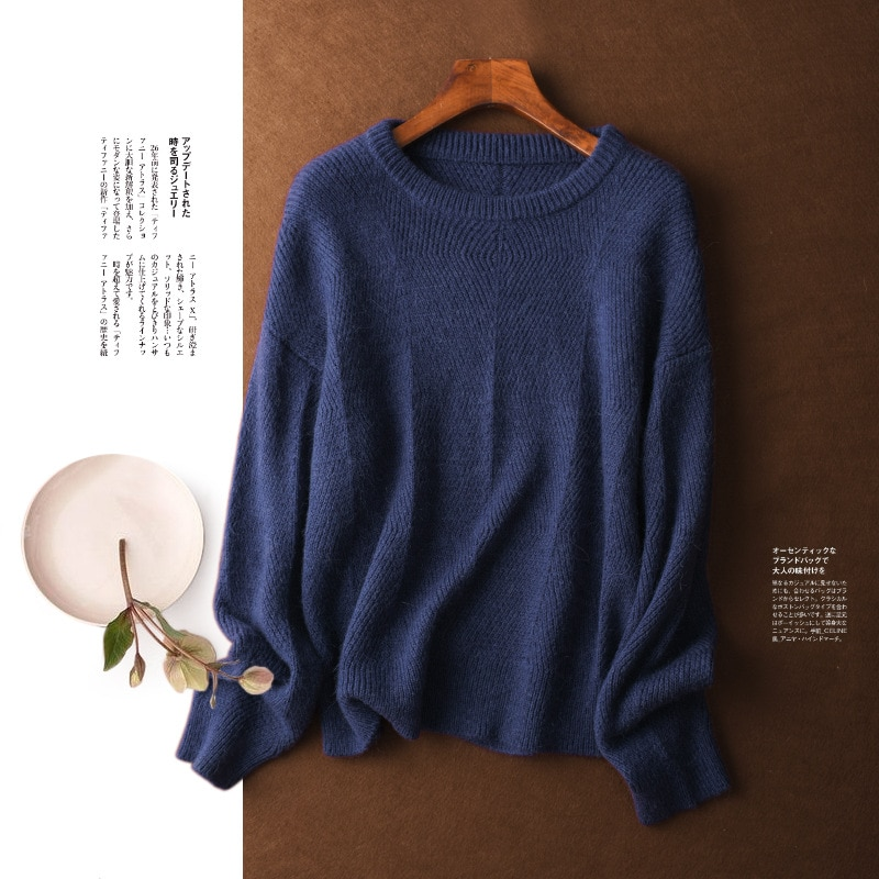 Shuchan Casual Wool Knit Sweater Pullover Autumn Winter New 2021 Wool  Mohair Spandex Blend  O-Neck Warm  A-straight Yellow enlarge