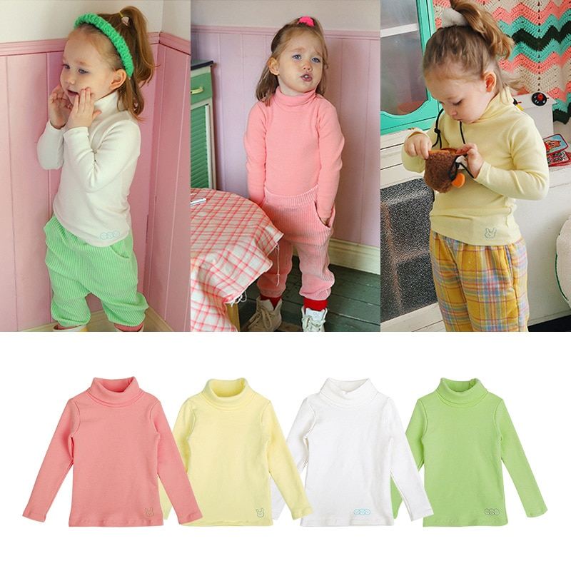 Autumn Winter Plus Velvet Bottoming Shirt Soft High Collar Warm Tops Solid Cotton Children Clothing Kid Baby Clothes Outfit