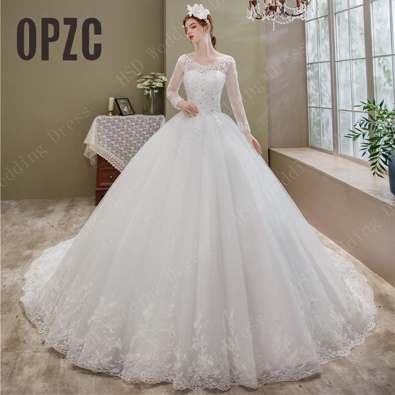 فستان زفاف مطرز بالدانتيل ، أكمام طويلة ، ذيل ذيل ، ياقة على شكل V ، مقاس كبير ، أنيق