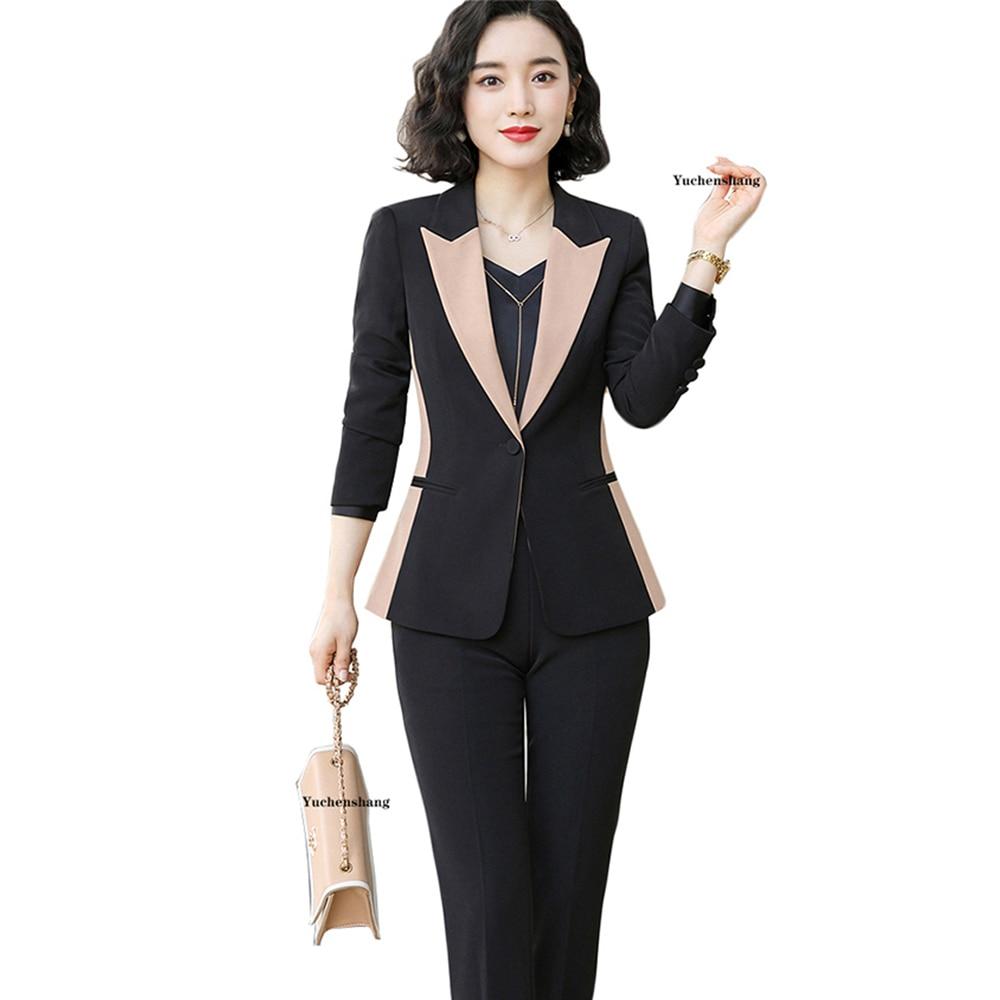 Pant Suit Women S-5XL Office Lady OL Black Apricot Work Jacket Blazer Coat And Pant 2 Piece Suit Set