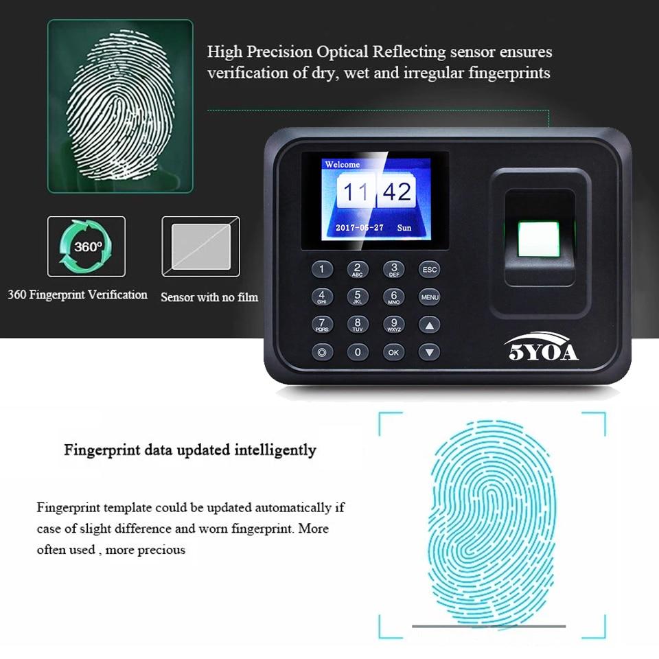 A01 biometric fingerprint punch usb time clock office attendance system recorder timing employee machine reader Spanish Spain En enlarge