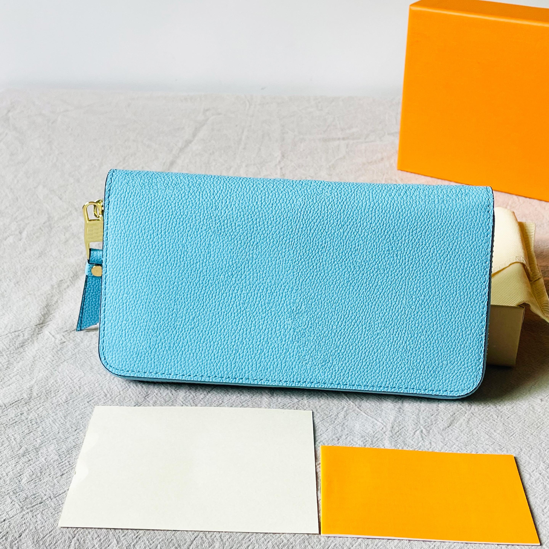 فاخر مصمم محفظة المرأة حقيبة الملونة غطاء الوجه لطيف طويل محفظة نسائية للعملات المعدنية 100% جلد طبيعي هدية صناديق شحن مجاني