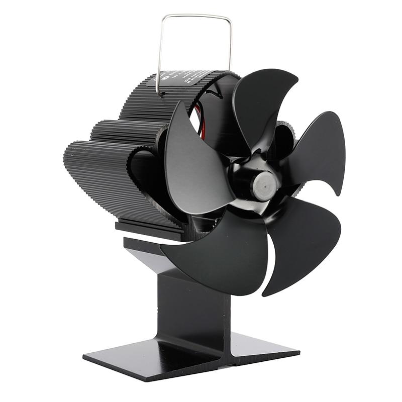 عملي أسود 5 شفرات الموقد توفير الطاقة الحرارة بالطاقة موقد مروحة موقد حرق الأخشاب توزيع الحرارة المنزل هادئة مروحة نفخ
