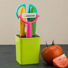 5pcs Set Plastic Kitchen Utensil Set With Stand Kitchen Supplies Vegetable Knife Peeler Kitchenware Set Home Kitchen Tools