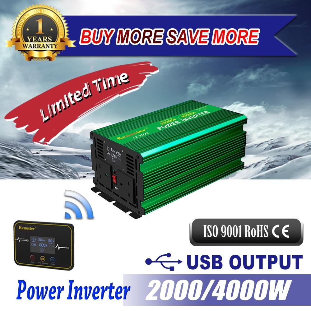 Inversor solar sem fio conversor 2000/4000 w carregador inversor de energia modificado onda senoidal 12 v 110 v com display lcd carro