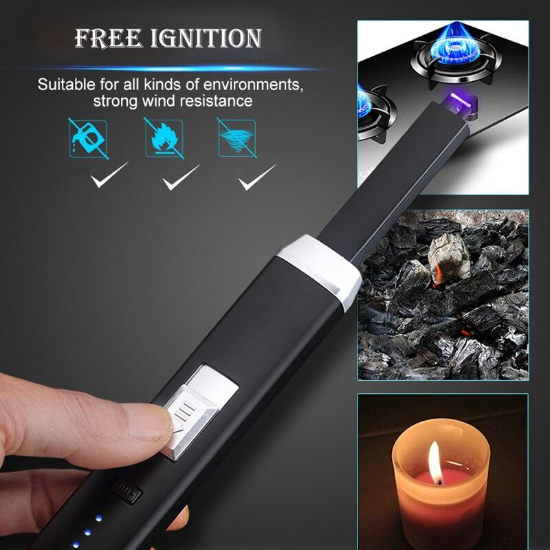 Encendedor USB recargable de pulso a prueba de viento encendedor electrónico portátil de arco para velas de cocina Camping