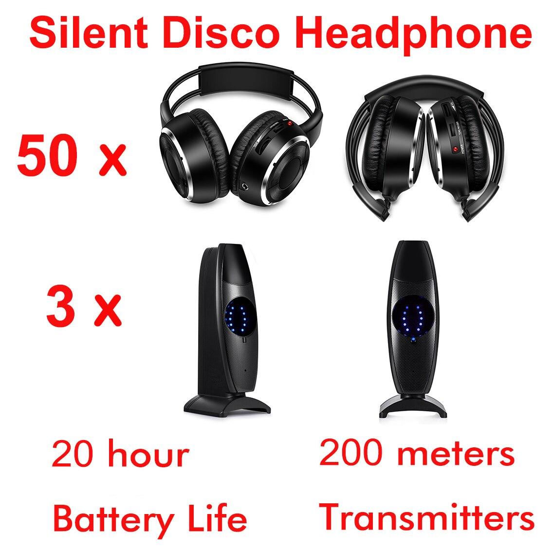 نظام ديسكو صامت كامل ، سماعات رأس لاسلكية قابلة للطي ، مجموعة حفلات ديسكو صامتة (50 سماعة و 3 أجهزة إرسال)
