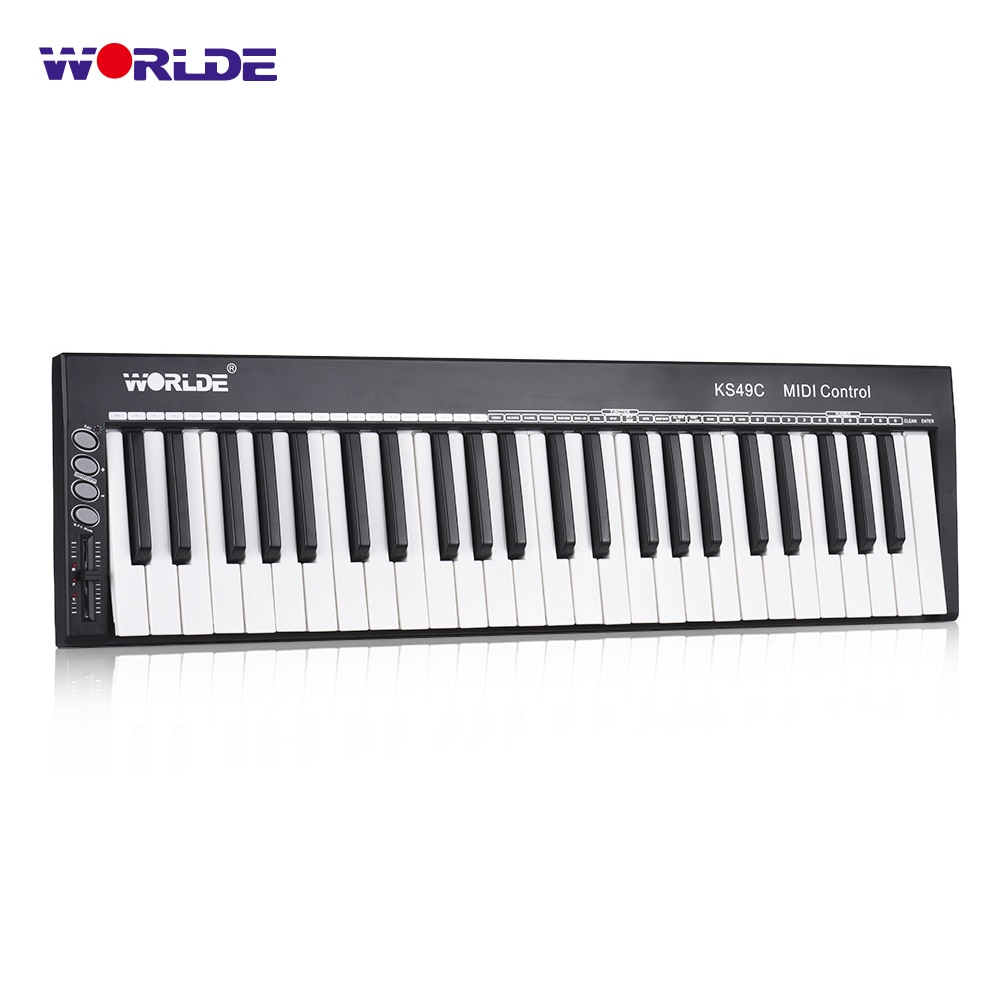 WORLDE KS49C-A controlador de teclado USB MIDI de 49 teclas fuente de sonido integrada con 6,35mm Pedal Jack MIDI Out