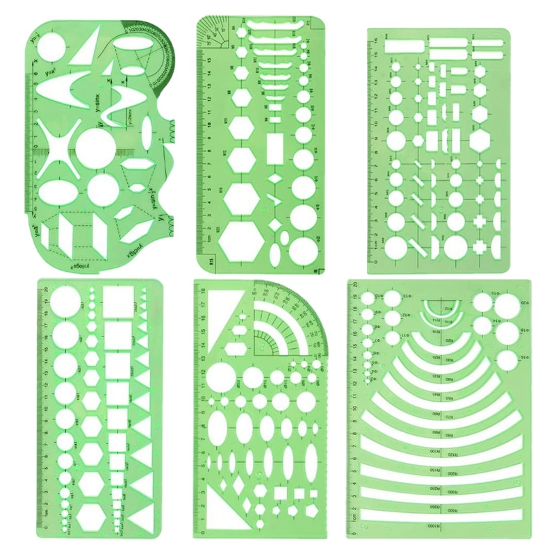 6 Pieces of Geometric Drawing Templates, Measuring Templates, Building Template Molds, DIY Office Supplies