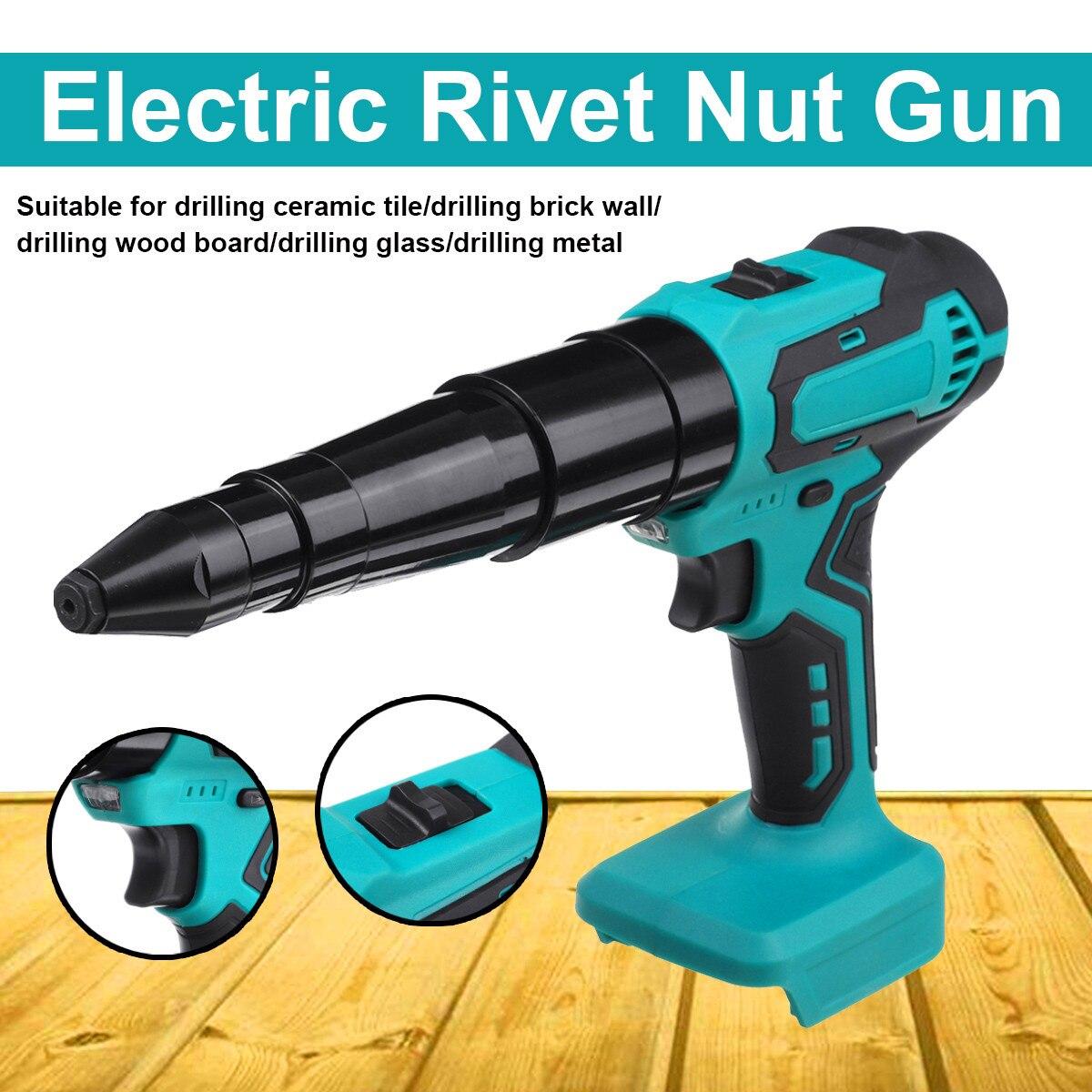 Arma de Rebite Elétrica sem Fio Chave de Fenda Recarregável para a Bateria de Makita Portátil Elétrica Cega Rebitador Rvet Porca 3.2mm-4.8mm