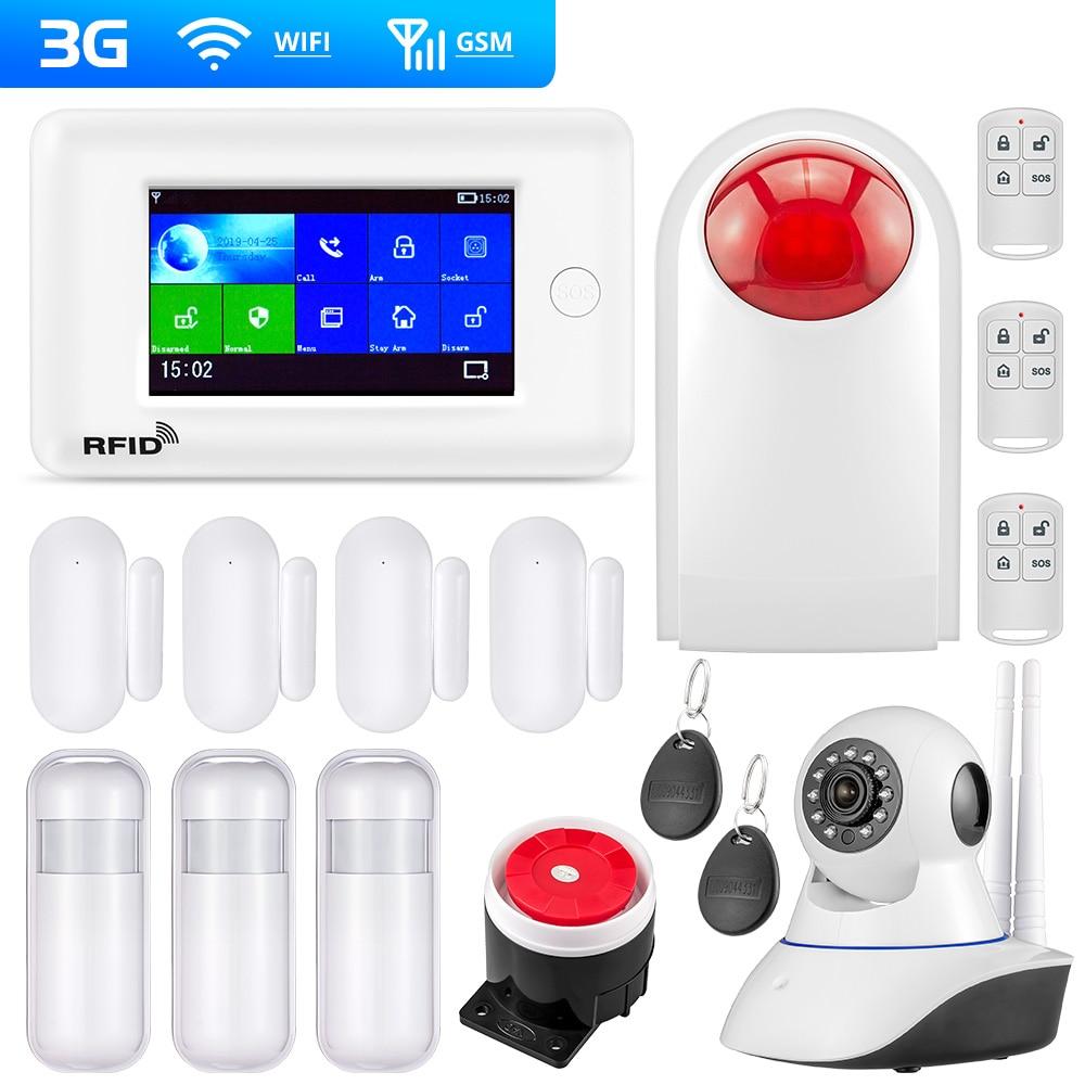 FUERS PG106 sistema de alarma WIFI/GSM 4,3 pulgadas TFT Color pantalla 2G 3G GPRS ALARMA DE SEGURIDAD PARA EL HOGAR anfitrión APP RFID Control con 10 Idioma
