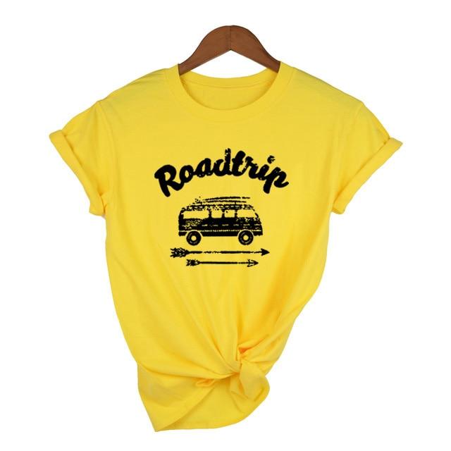 Mujeres gráfico Tee camino viaje Tee casual Vintage camiseta verano moda Hipster camisetas Tumblr Grunge 90 chica camiseta trajes